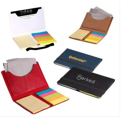 Business Card Sticky Pack w/ Microfiber Cleaning Cloth